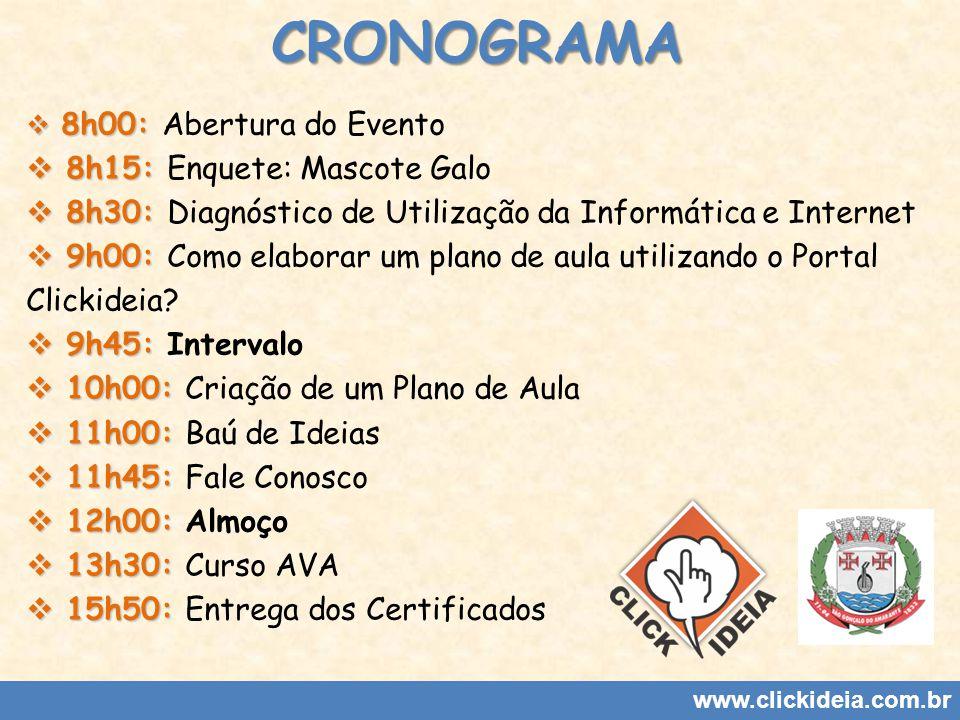 CRONOGRAMA 8h15: Enquete: Mascote Galo