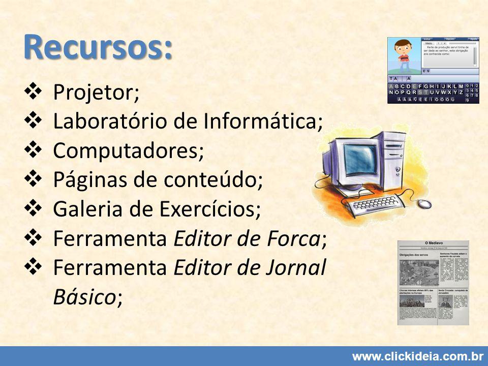 Recursos: Projetor; Laboratório de Informática; Computadores;