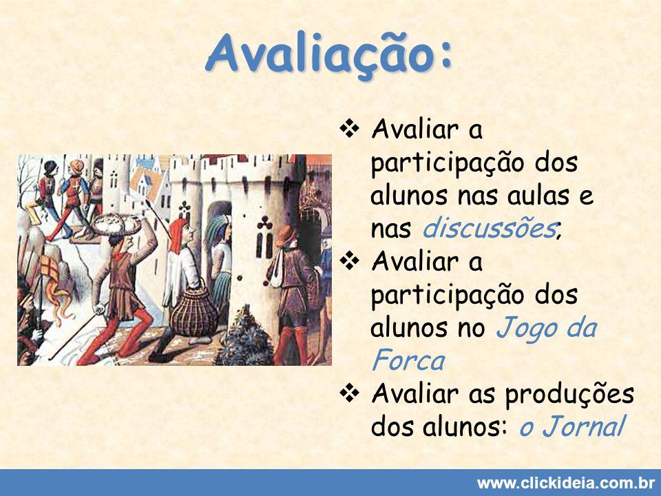 Avaliação: Avaliar a participação dos alunos nas aulas e nas discussões; Avaliar a participação dos alunos no Jogo da Forca.