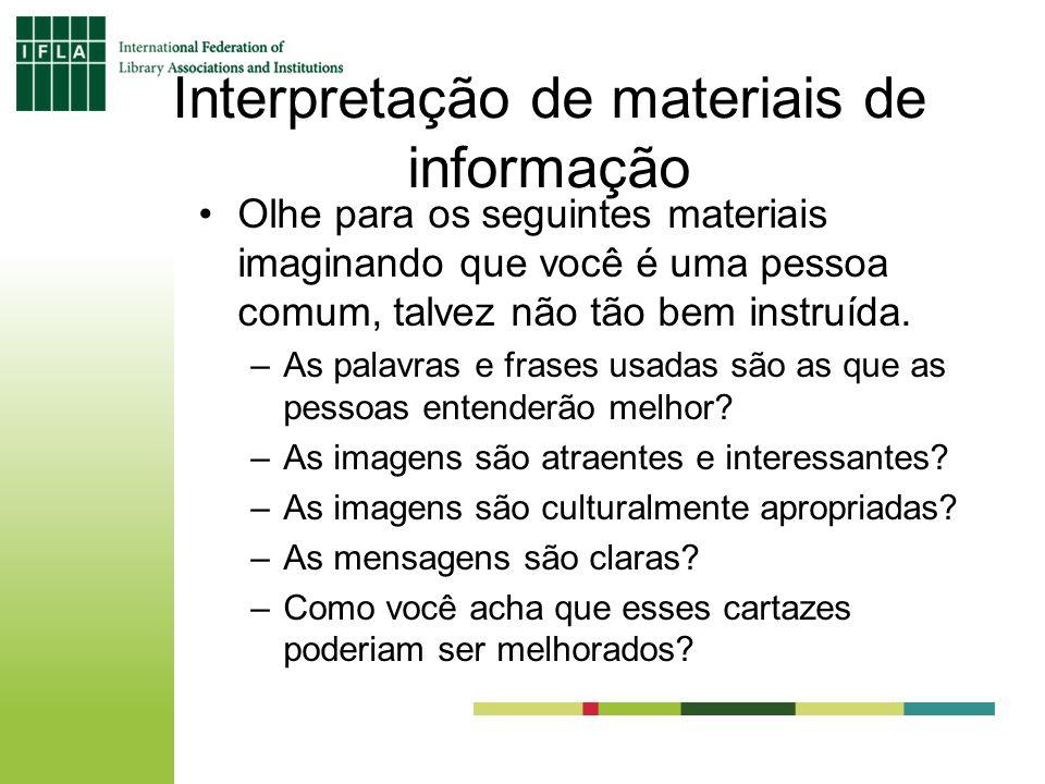 Interpretação de materiais de informação