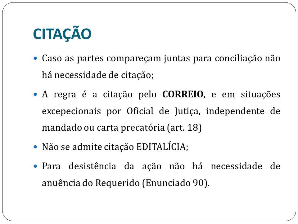CITAÇÃO Caso as partes compareçam juntas para conciliação não há necessidade de citação;