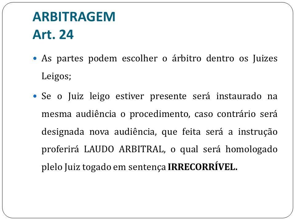 ARBITRAGEM Art. 24 As partes podem escolher o árbitro dentro os Juizes Leigos;