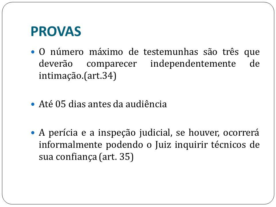 PROVAS O número máximo de testemunhas são três que deverão comparecer independentemente de intimação.(art.34)