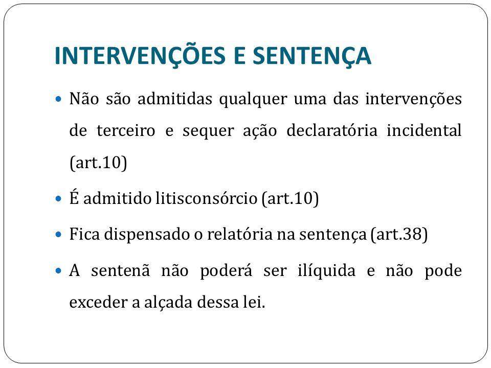 INTERVENÇÕES E SENTENÇA