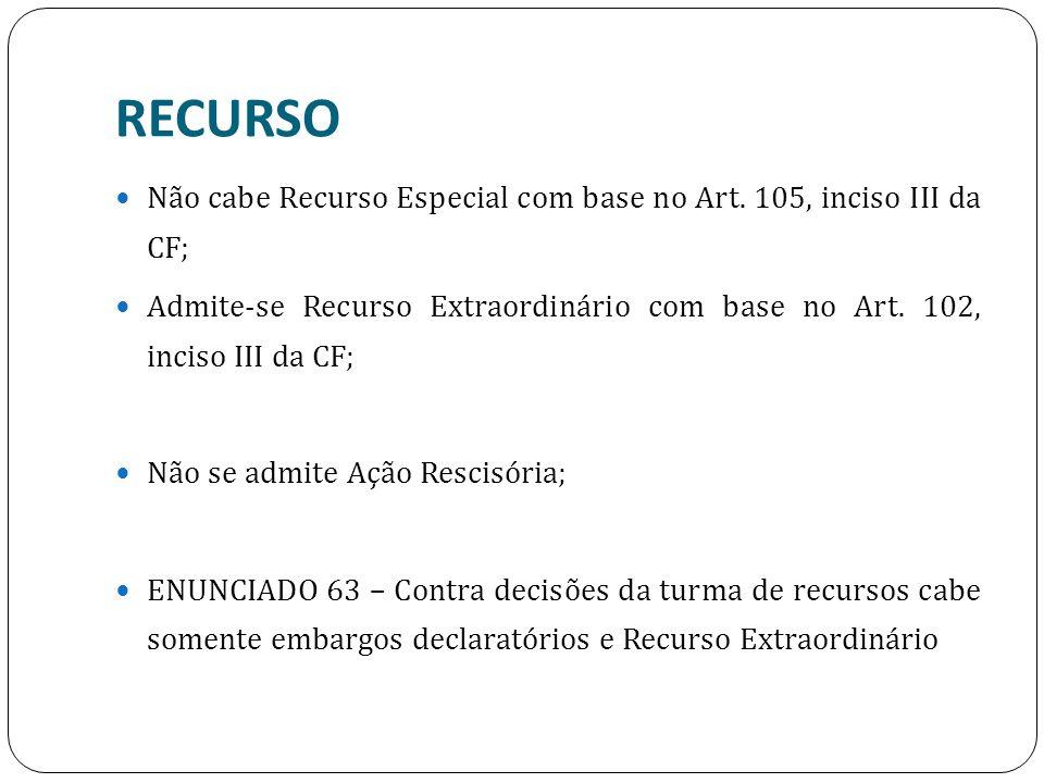 RECURSO Não cabe Recurso Especial com base no Art. 105, inciso III da CF; Admite-se Recurso Extraordinário com base no Art. 102, inciso III da CF;