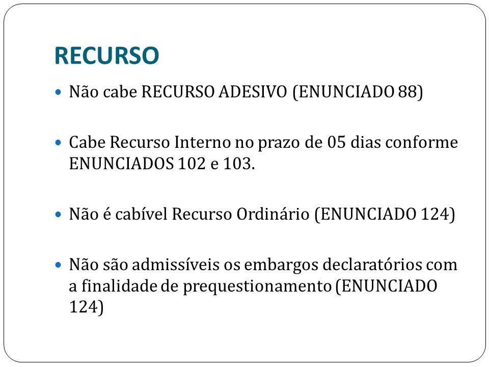 RECURSO Não cabe RECURSO ADESIVO (ENUNCIADO 88)