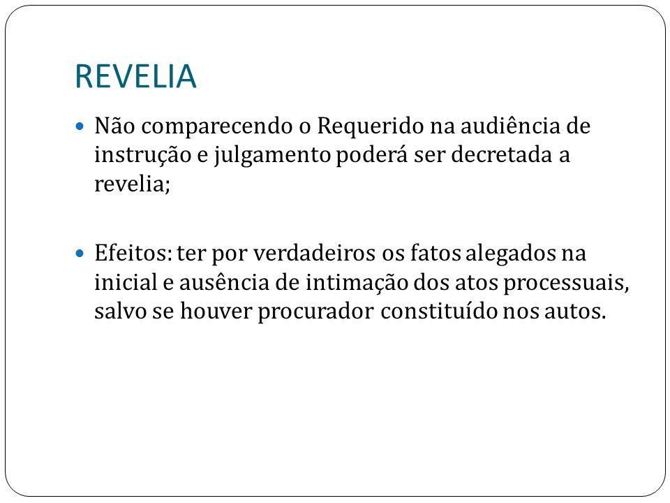 REVELIA Não comparecendo o Requerido na audiência de instrução e julgamento poderá ser decretada a revelia;