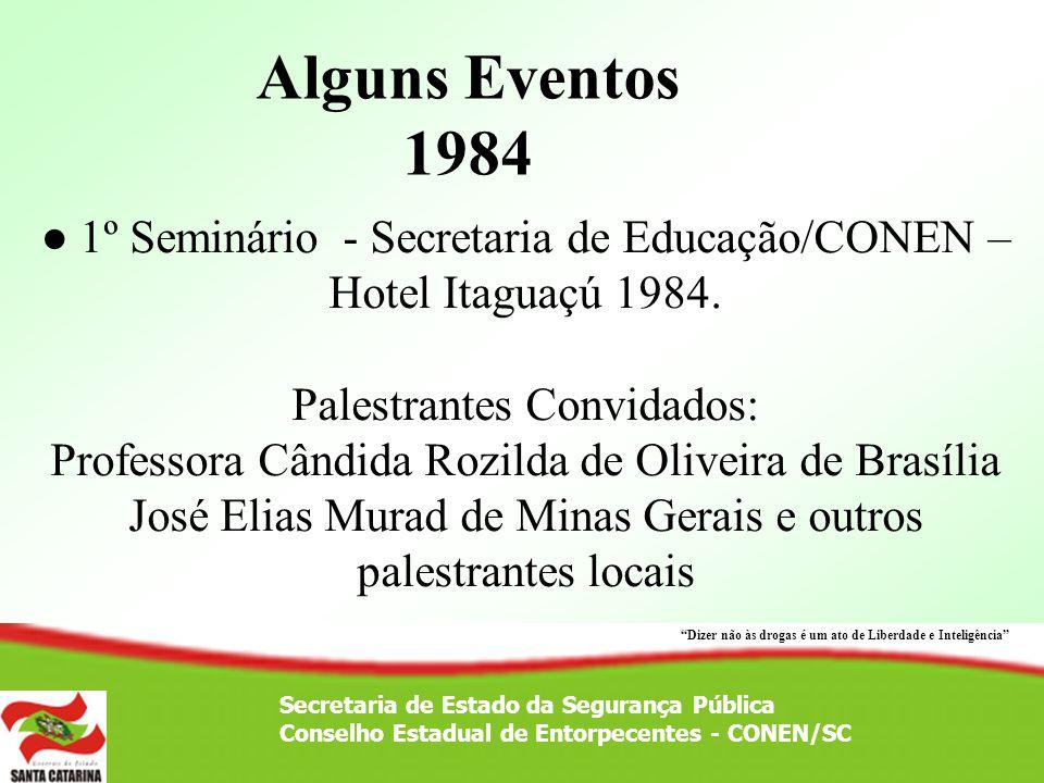 Alguns Eventos 1984 ● 1º Seminário - Secretaria de Educação/CONEN – Hotel Itaguaçú 1984. Palestrantes Convidados: