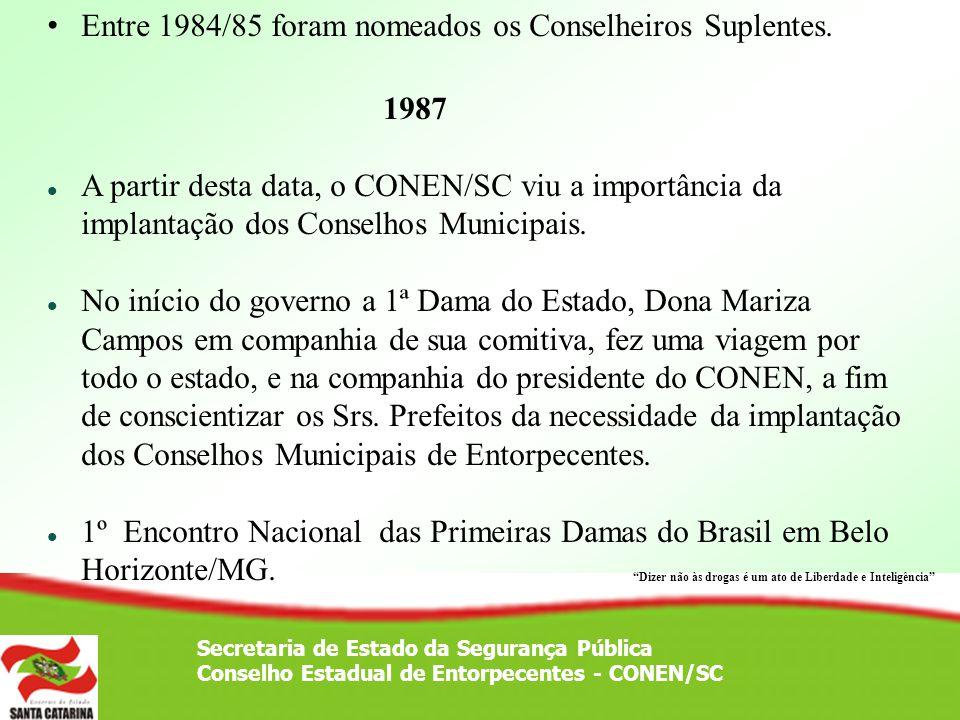 Entre 1984/85 foram nomeados os Conselheiros Suplentes. 1987