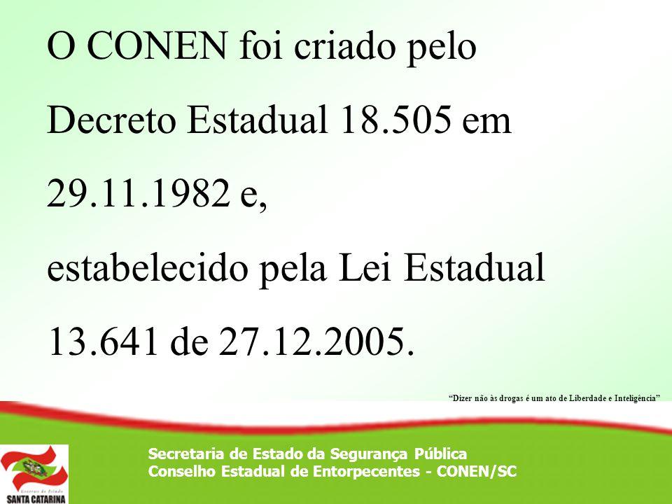O CONEN foi criado pelo Decreto Estadual 18. 505 em 29. 11