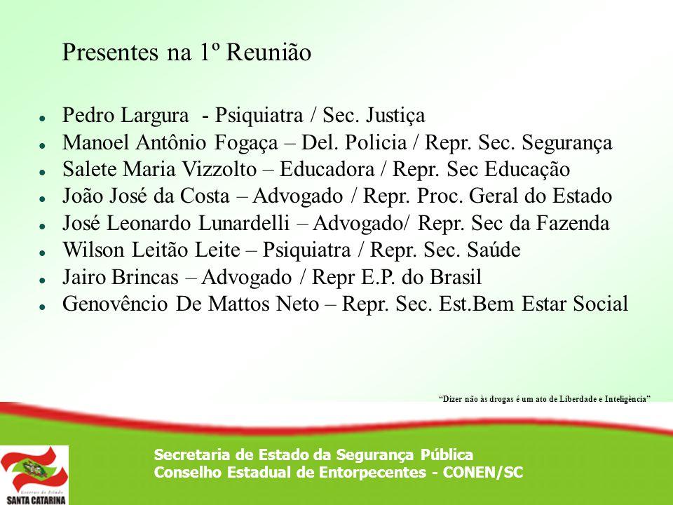 Presentes na 1º Reunião Pedro Largura - Psiquiatra / Sec. Justiça