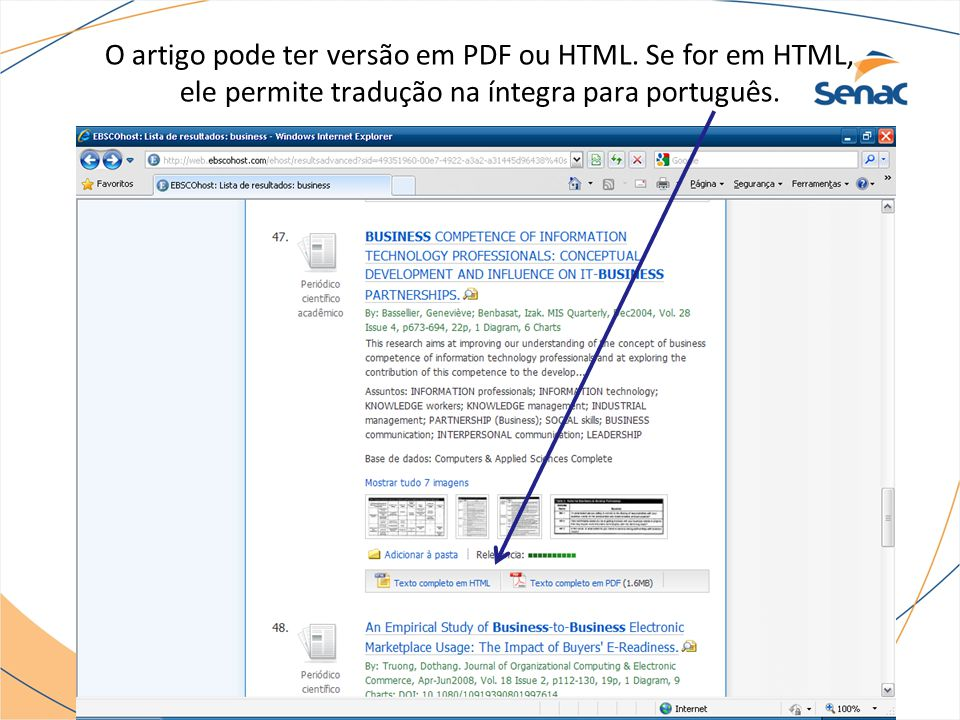 O artigo pode ter versão em PDF ou HTML