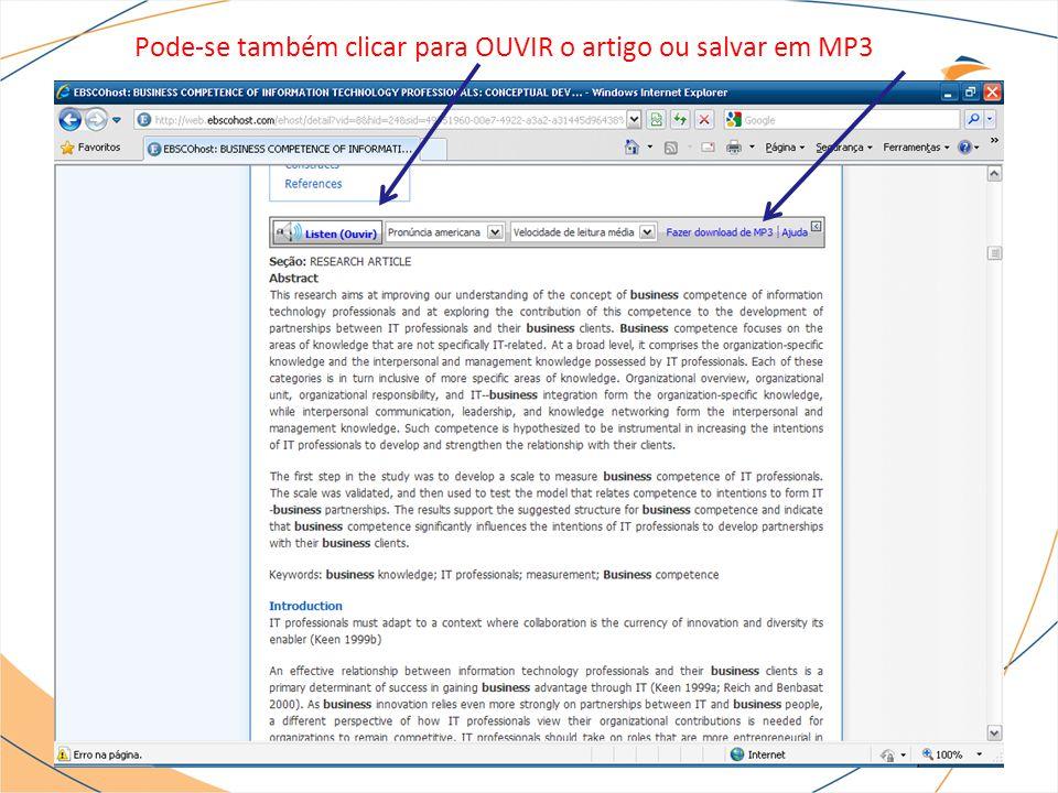 Pode-se também clicar para OUVIR o artigo ou salvar em MP3