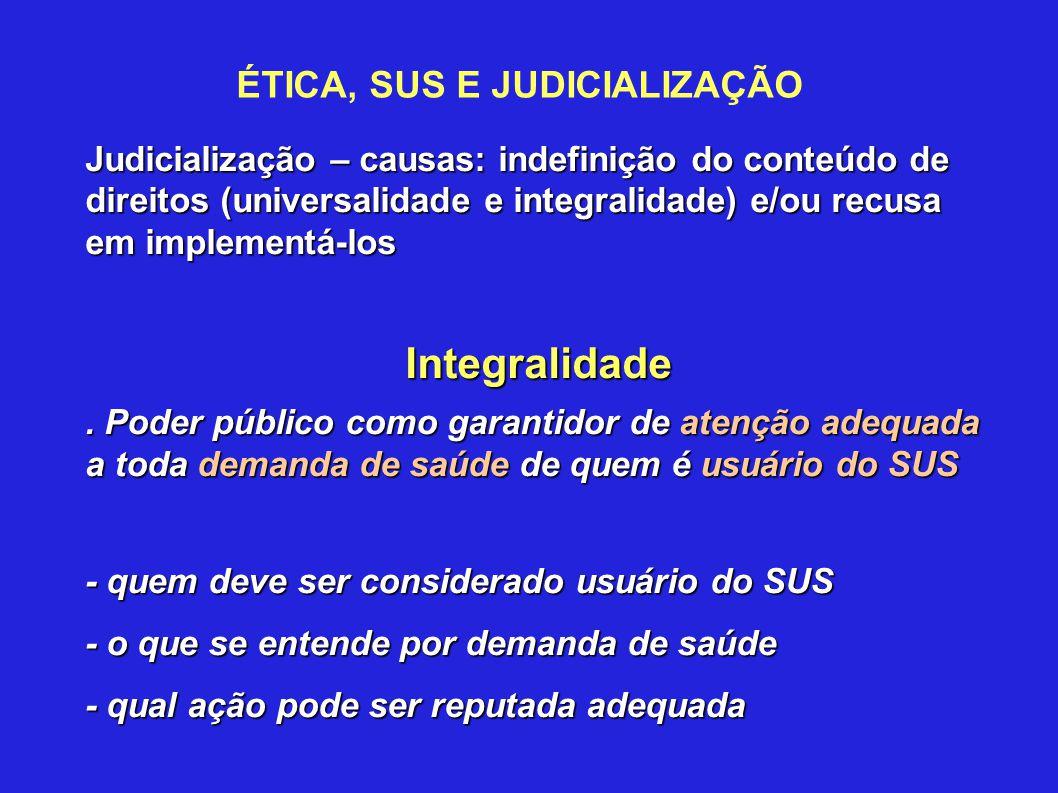 ÉTICA, SUS E JUDICIALIZAÇÃO