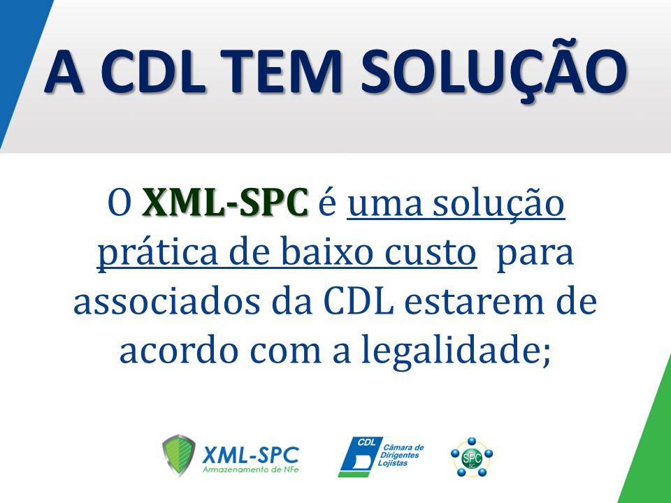 A CDL TEM SOLUÇÃO O XML-SPC é uma solução prática de baixo custo para associados da CDL estarem de acordo com a legalidade;