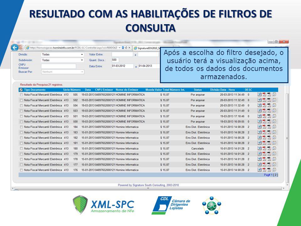 RESULTADO COM AS HABILITAÇÕES DE FILTROS DE CONSULTA