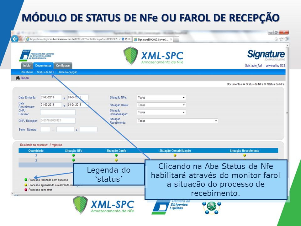 MÓDULO DE STATUS DE NFe OU FAROL DE RECEPÇÃO