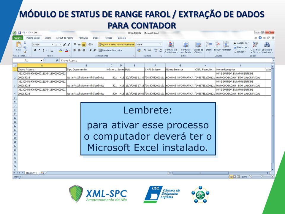 MÓDULO DE STATUS DE RANGE FAROL / EXTRAÇÃO DE DADOS PARA CONTADOR