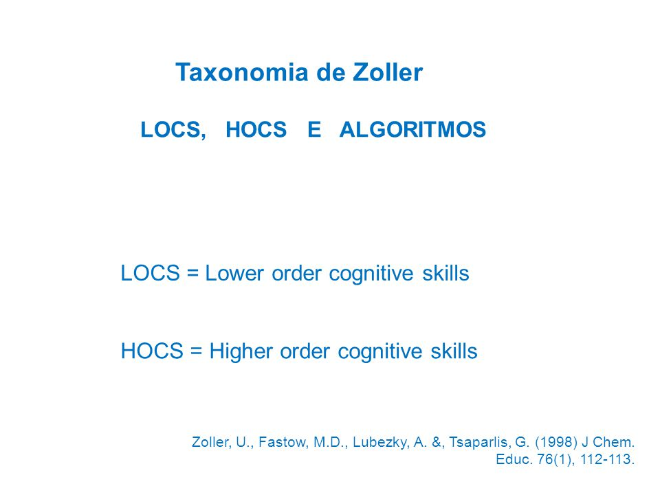 Taxonomia de Zoller LOCS, HOCS E ALGORITMOS