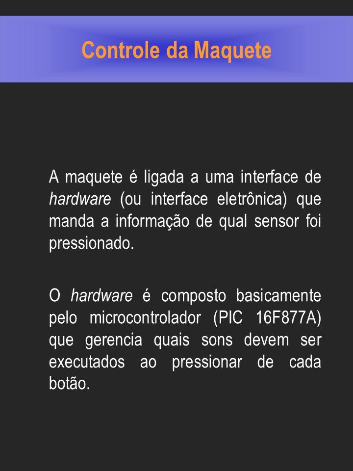 Controle da Maquete A maquete é ligada a uma interface de hardware (ou interface eletrônica) que manda a informação de qual sensor foi pressionado.