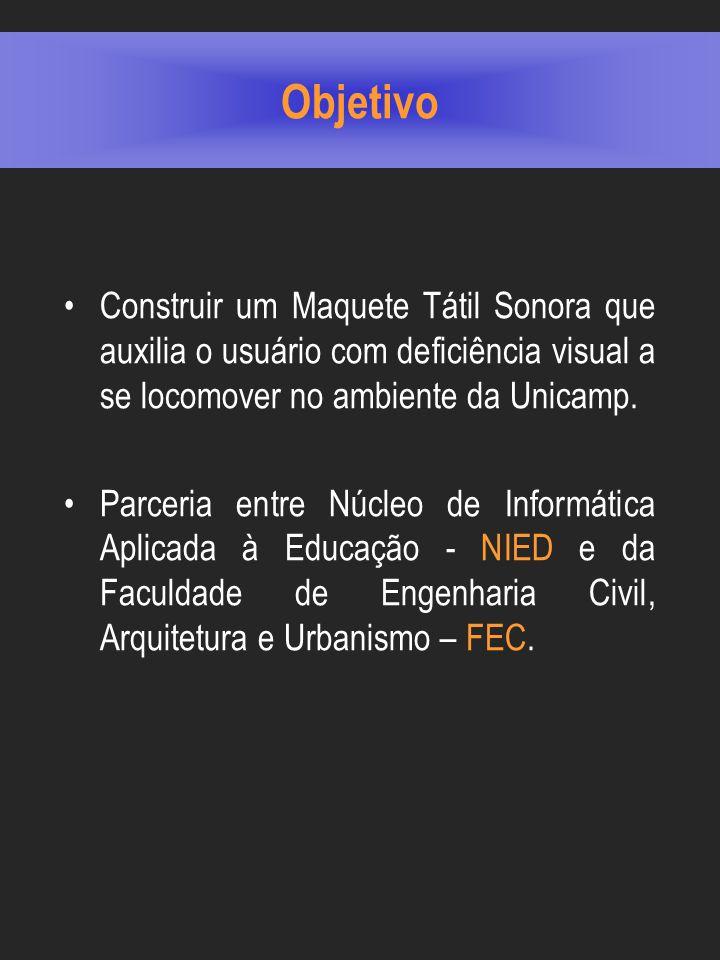 Objetivo Construir um Maquete Tátil Sonora que auxilia o usuário com deficiência visual a se locomover no ambiente da Unicamp.