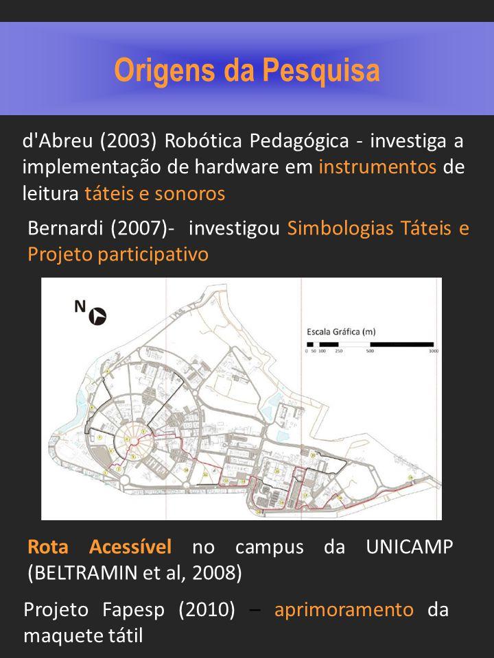 Origens da Pesquisa d Abreu (2003) Robótica Pedagógica - investiga a implementação de hardware em instrumentos de leitura táteis e sonoros.