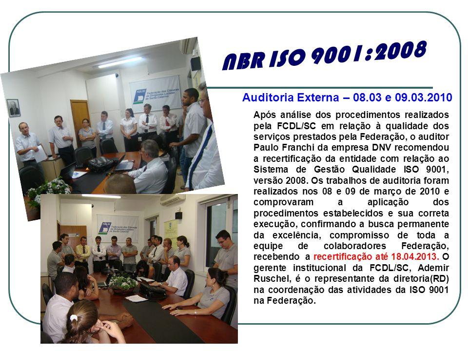 NBR ISO 9001:2008 Auditoria Externa – 08.03 e 09.03.2010