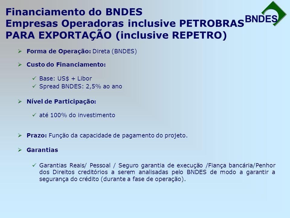 BNDES Financiamento do BNDES Empresas Operadoras inclusive PETROBRAS PARA EXPORTAÇÃO (inclusive REPETRO)