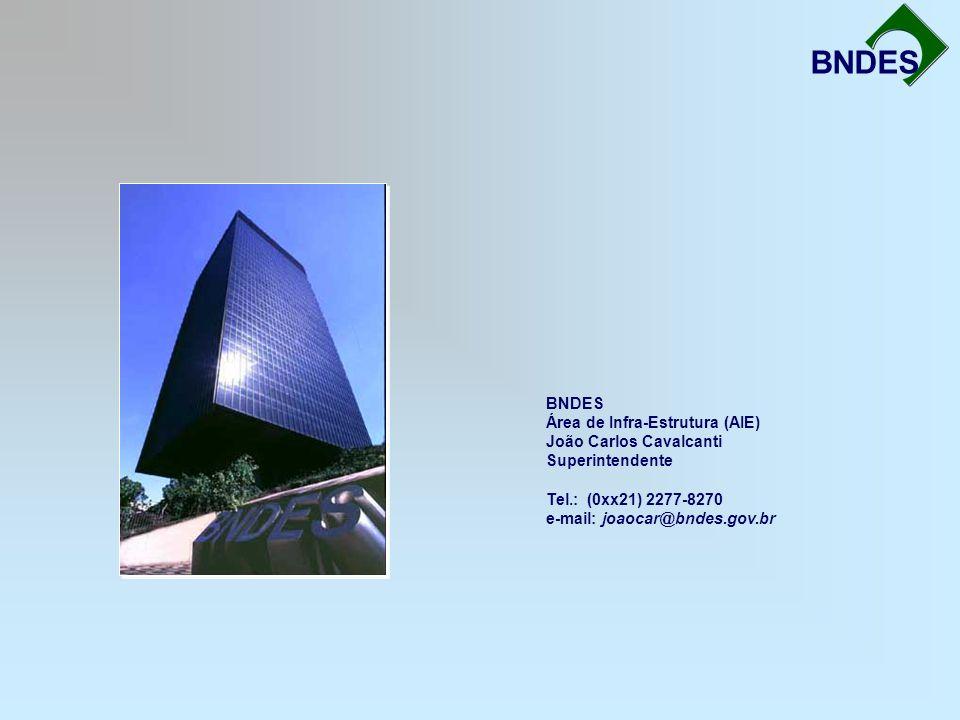 BNDES BNDES Área de Infra-Estrutura (AIE) João Carlos Cavalcanti Superintendente Tel.: (0xx21) 2277-8270 e-mail: joaocar@bndes.gov.br.
