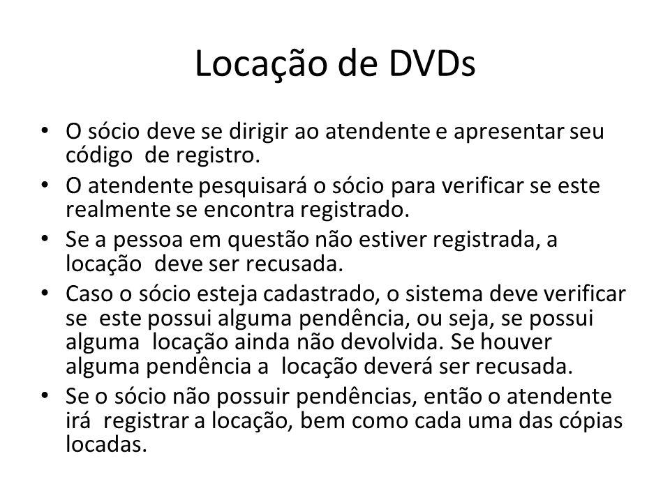 Locação de DVDs O sócio deve se dirigir ao atendente e apresentar seu código de registro.