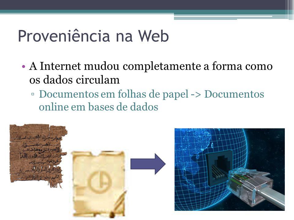 Proveniência na Web A Internet mudou completamente a forma como os dados circulam.