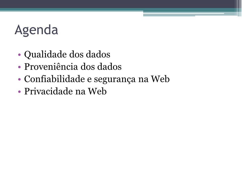 Agenda Qualidade dos dados Proveniência dos dados