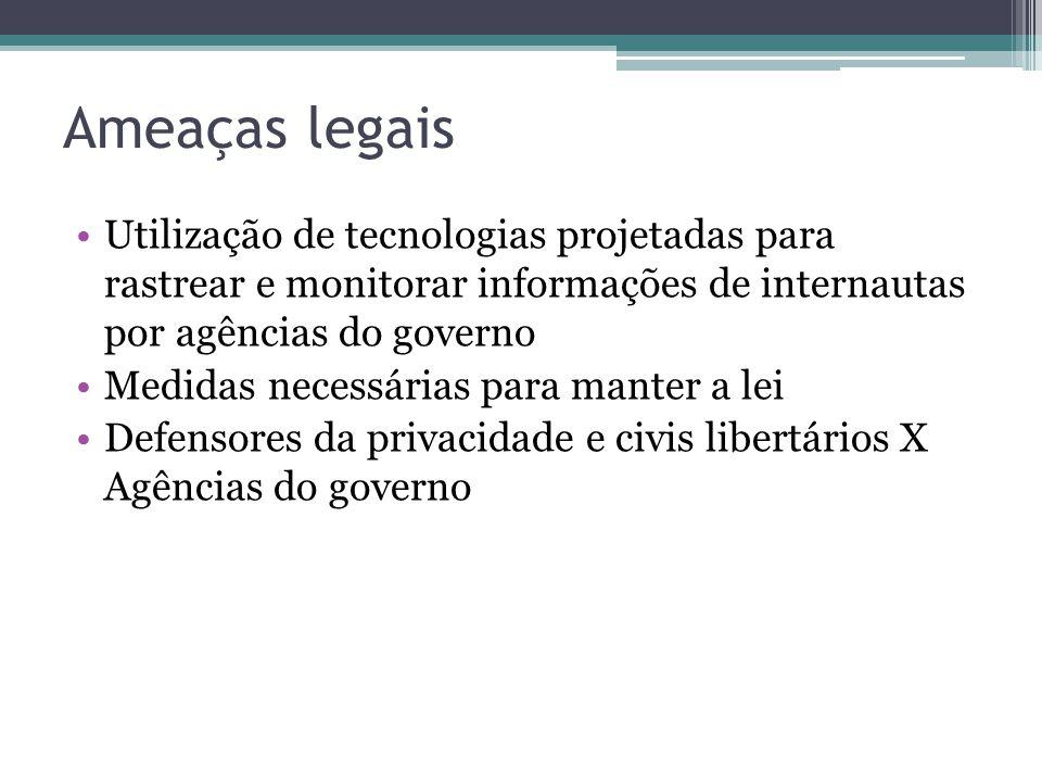 Ameaças legais Utilização de tecnologias projetadas para rastrear e monitorar informações de internautas por agências do governo.