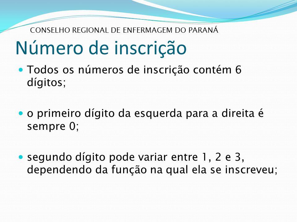 Número de inscrição Todos os números de inscrição contém 6 dígitos;