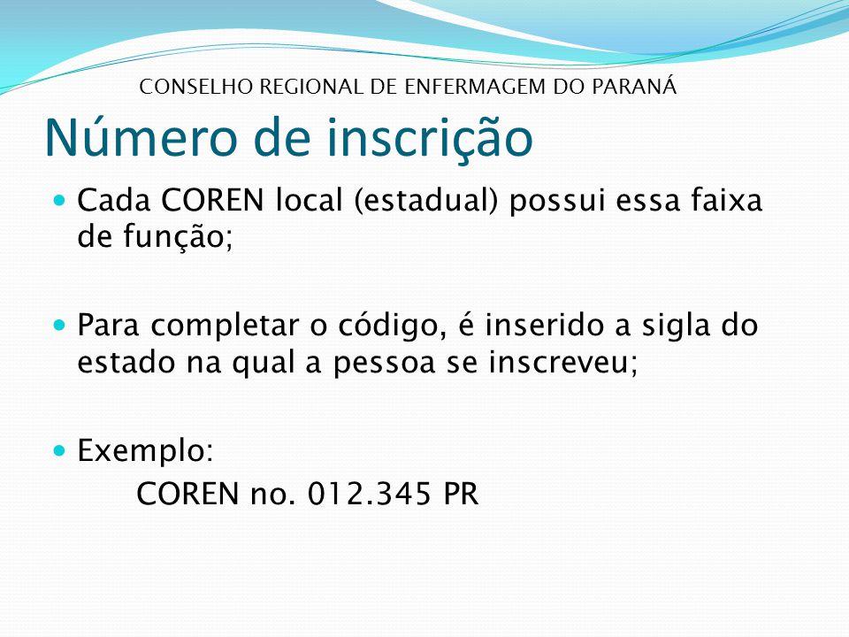 Número de inscrição Conselho regional de enfermagem do paraná. Cada COREN local (estadual) possui essa faixa de função;