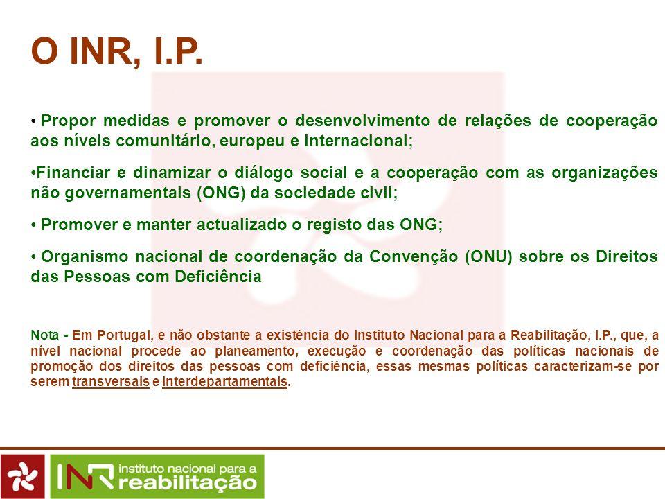 O INR, I.P.Propor medidas e promover o desenvolvimento de relações de cooperação aos níveis comunitário, europeu e internacional;