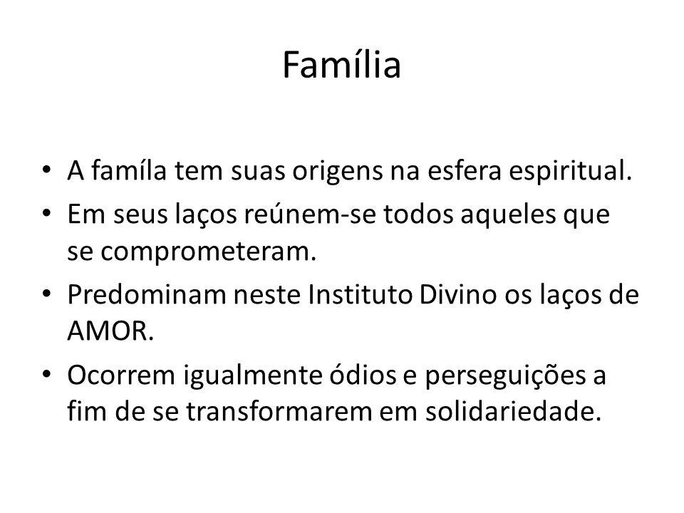Família A famíla tem suas origens na esfera espiritual.