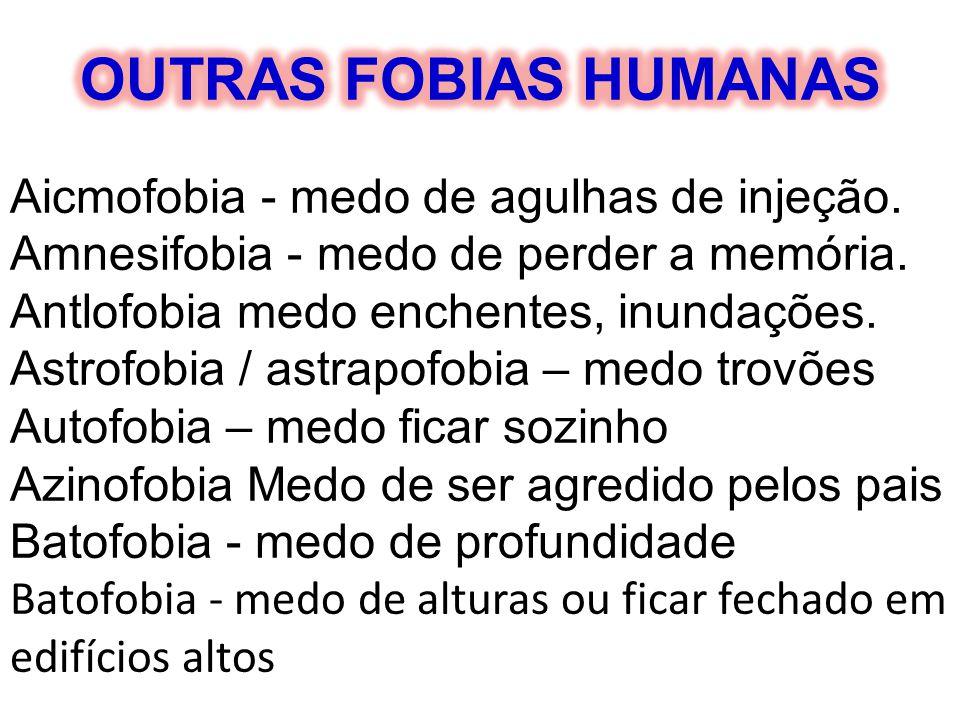 OUTRAS FOBIAS HUMANAS Aicmofobia - medo de agulhas de injeção.