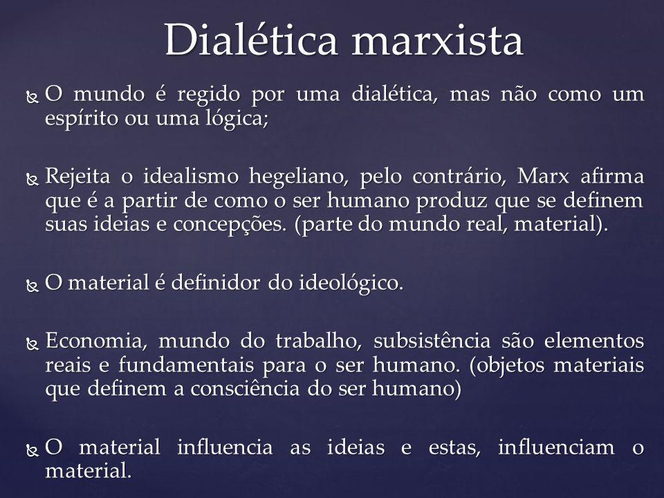 Dialética marxista O mundo é regido por uma dialética, mas não como um espírito ou uma lógica;