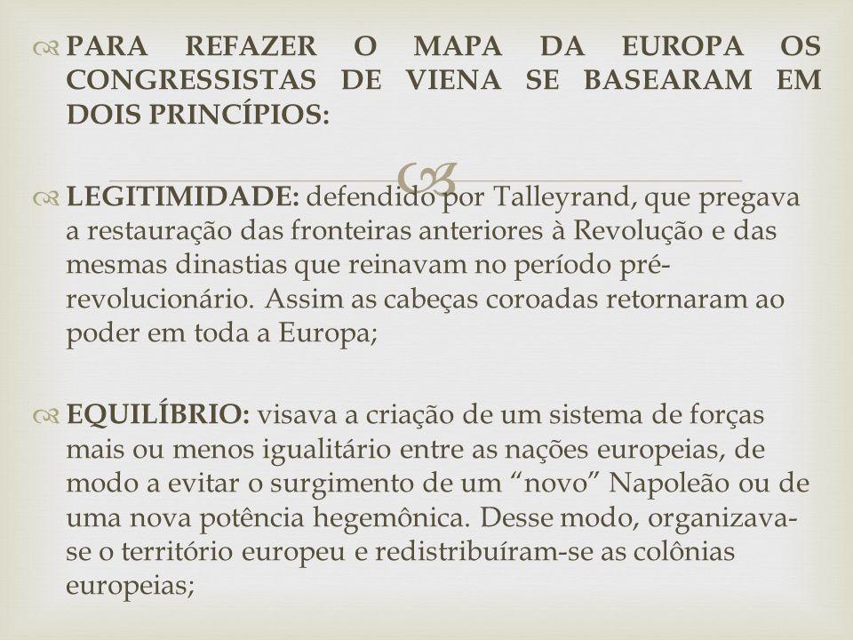 PARA REFAZER O MAPA DA EUROPA OS CONGRESSISTAS DE VIENA SE BASEARAM EM DOIS PRINCÍPIOS: