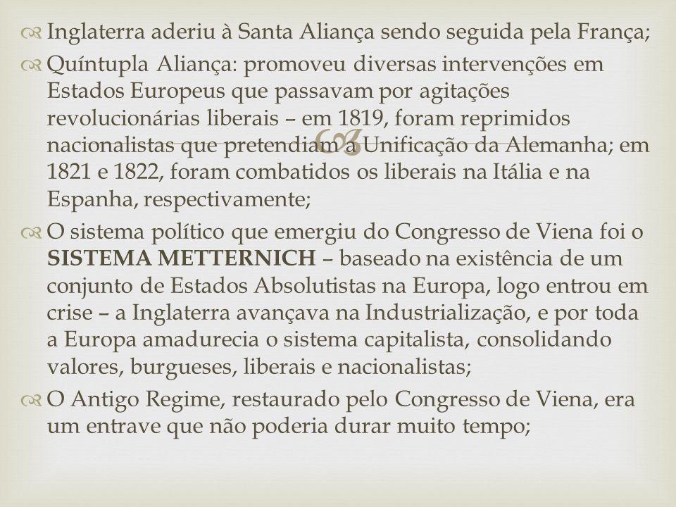 Inglaterra aderiu à Santa Aliança sendo seguida pela França;