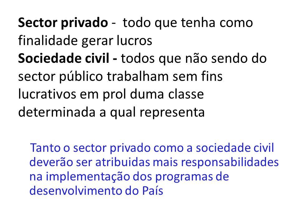 Sector privado - todo que tenha como finalidade gerar lucros Sociedade civil - todos que não sendo do sector público trabalham sem fins lucrativos em prol duma classe determinada a qual representa