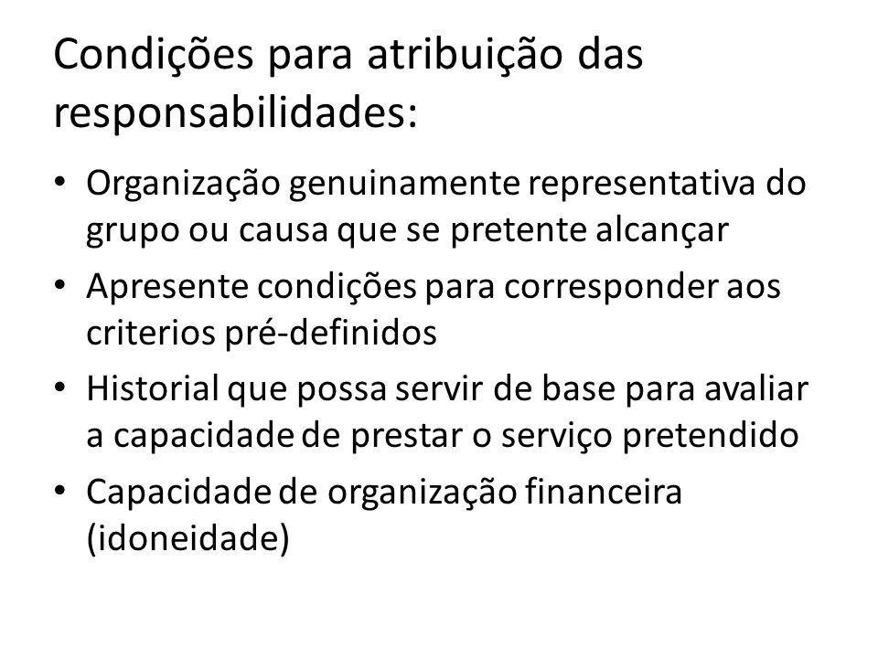 Condições para atribuição das responsabilidades: