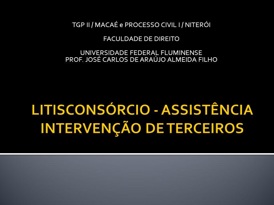 LITISCONSÓRCIO - ASSISTÊNCIA INTERVENÇÃO DE TERCEIROS