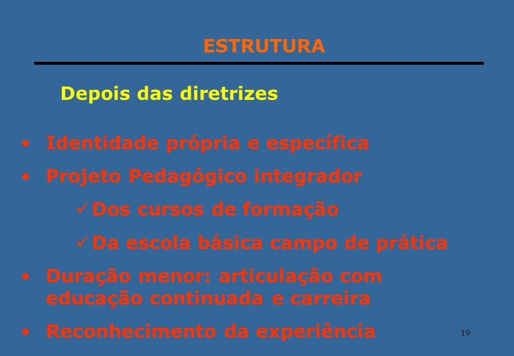 ESTRUTURA Depois das diretrizes. Identidade própria e específica. Projeto Pedagógico integrador. Dos cursos de formação.