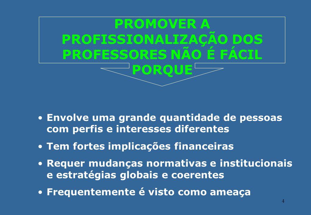 PROMOVER A PROFISSIONALIZAÇÃO DOS PROFESSORES NÃO É FÁCIL PORQUE