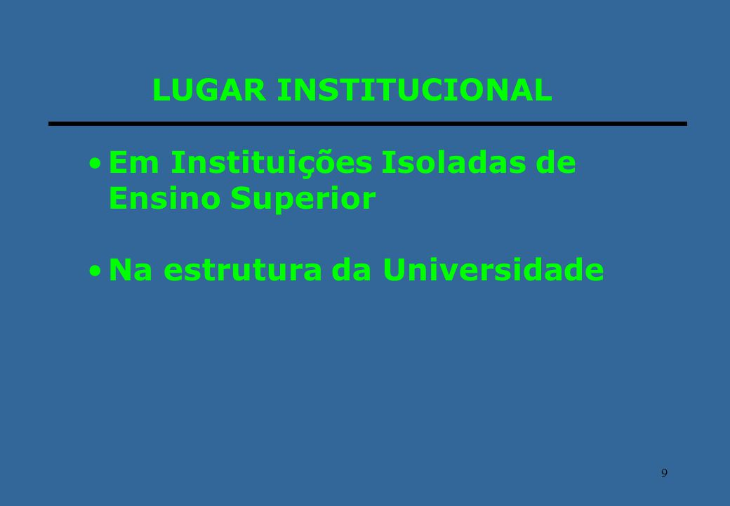 LUGAR INSTITUCIONAL Em Instituições Isoladas de Ensino Superior Na estrutura da Universidade