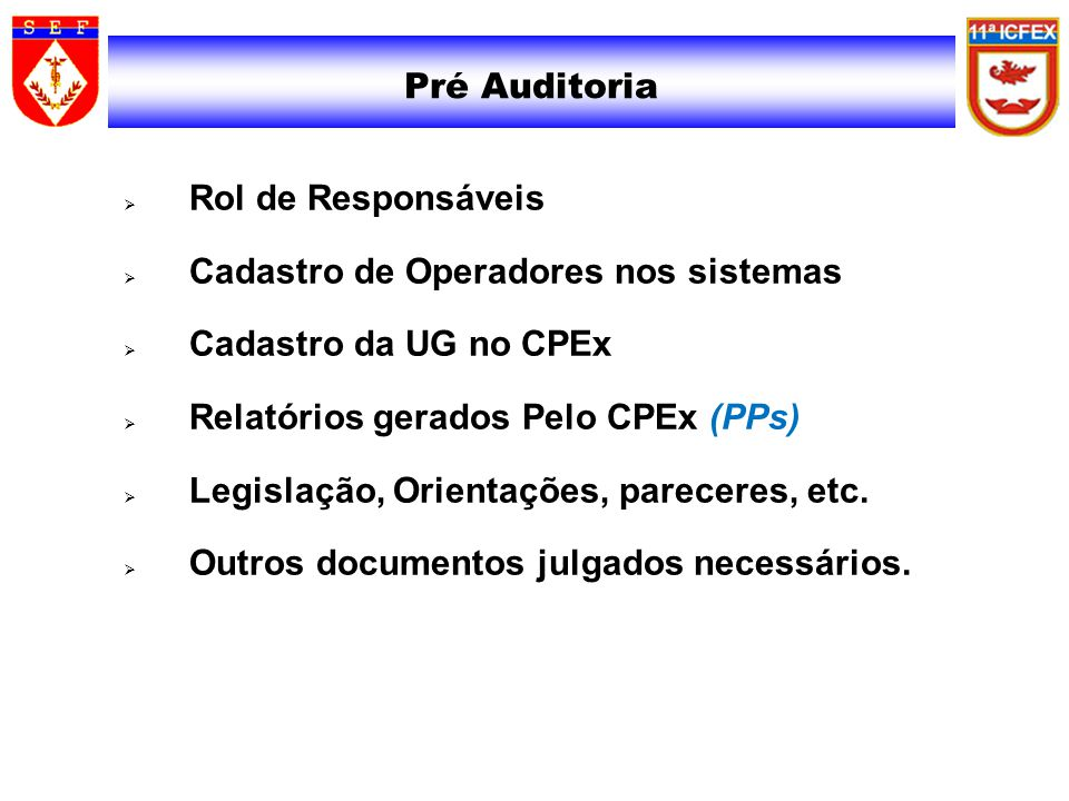 Cadastro de Operadores nos sistemas Cadastro da UG no CPEx
