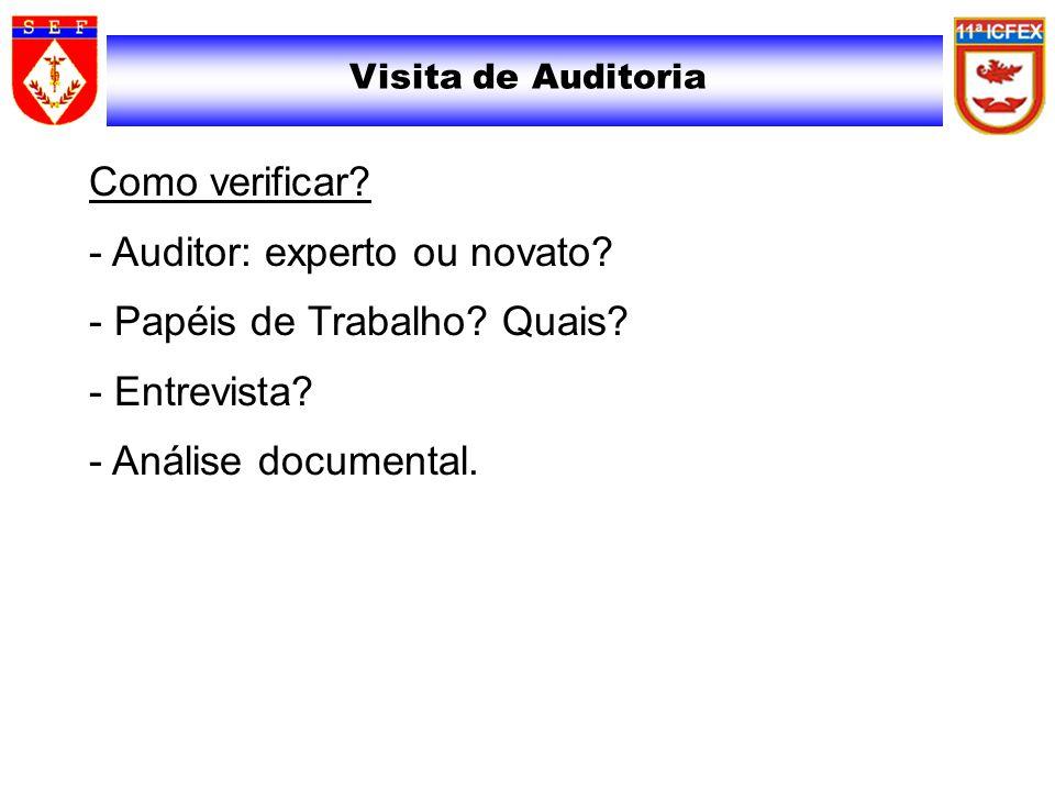 Visita de Auditoria Como verificar. - Auditor: experto ou novato.