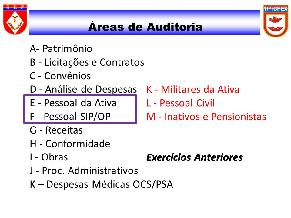 31/03/2017 31/03/2017. Áreas de Auditoria.